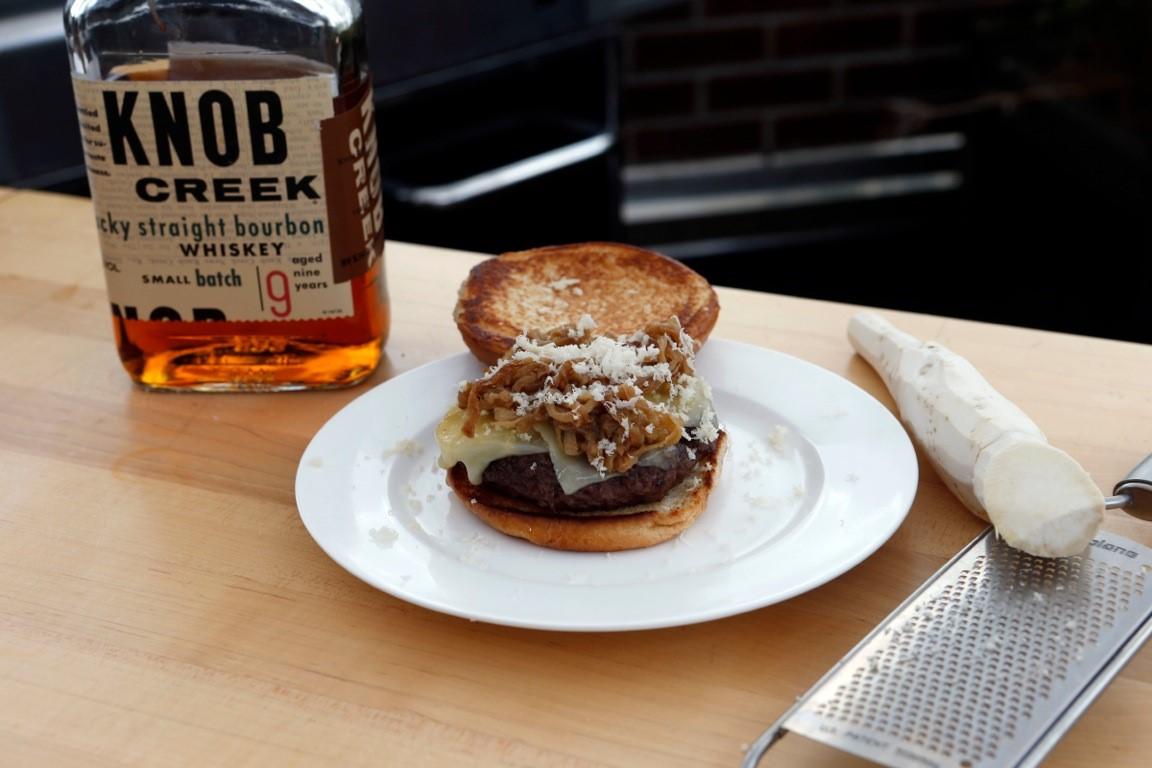 Burger with Knob Creek Caramelized Onions, Gruyere & Horseradish