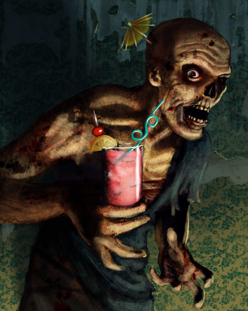 Zombie Having A Cocktail