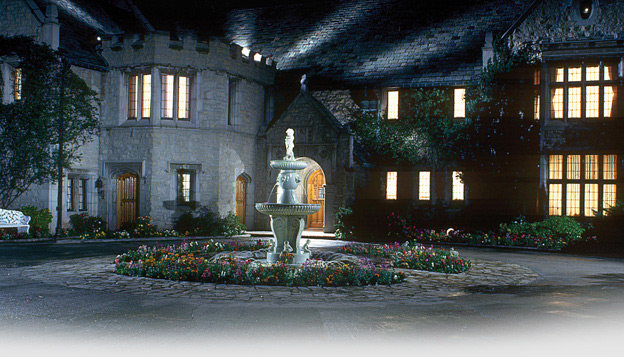 Playboy Mansion at night